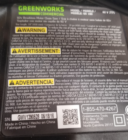 Greenworks Commercial 82-volt chainsaw label