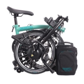 Recalled Brompton Electric Folding Bicycle (folded position)