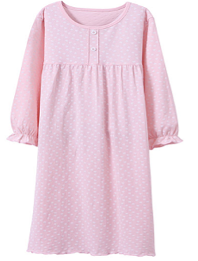 Recalled Auranso Official children's nightgown – long sleeves, pink with white heart print
