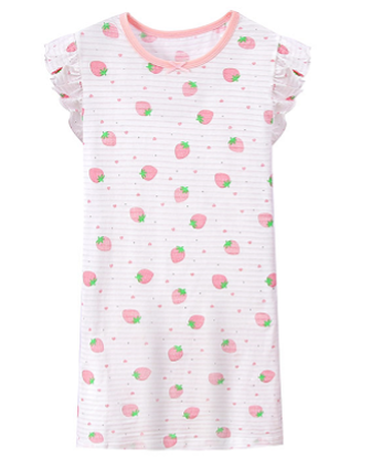 Recalled Auranso Official children's nightgown – short sleeves, white with pink stripes
