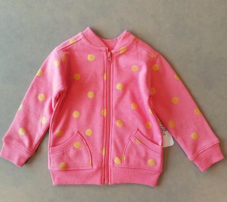 Pink with yellow polka-dot girls bomber jacket