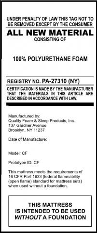 Recalled Quality Foam mattress tag