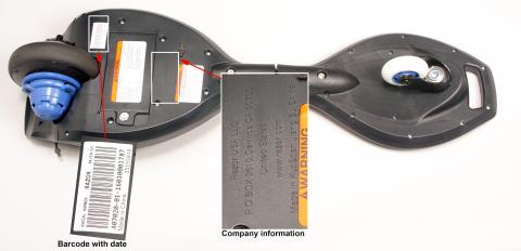 Bottom of recalled Razor RipStik electric caster board