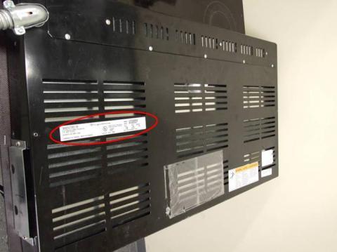 Cooktop serial plate—underside of unit