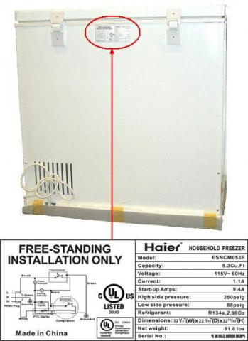 Rating label is located at the top center of the back of the freezer