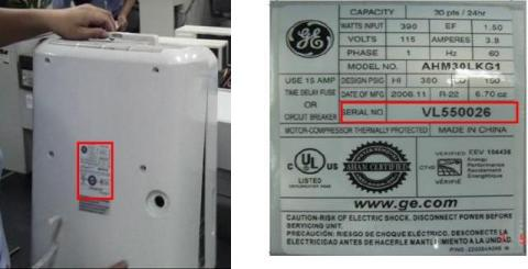RATING LABEL WITH MODEL AND SERIAL NUMBER SHOWN HERE: