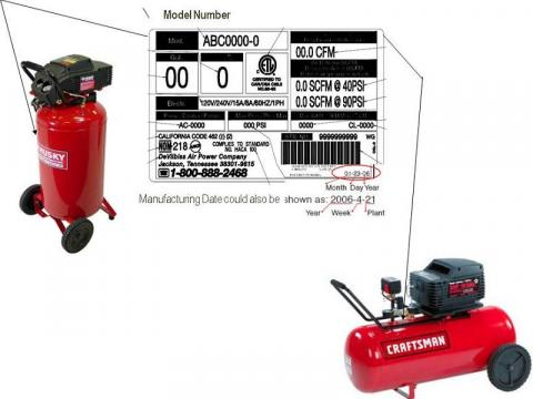 Location of model number and manufacture date on Husky and Craftsman brand air compressors