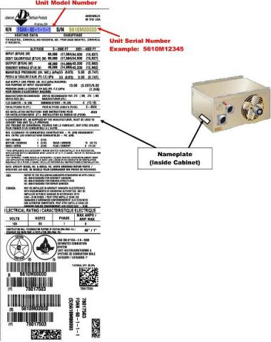 ADP FOA series and Lennox unit heater Data Tag