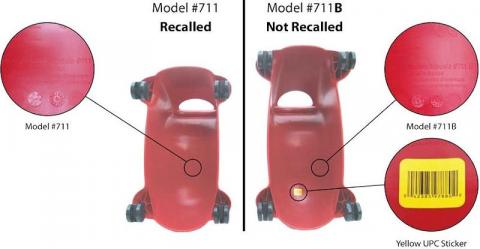Picture showing the difference between recalled model #711 and model #711B, which was not recalled