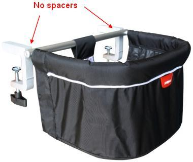 Chairs included in this recall do not have black plastic spacers between the cross bar and clamps\n