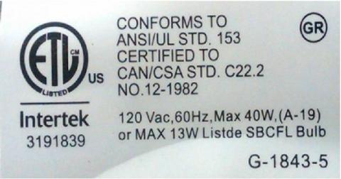 Label on underside of base of recalled lamps