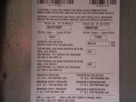 Recalled gas furnace label