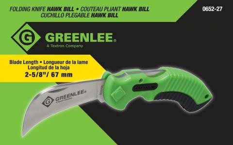 Recalled utility knife packaging by Greenlee