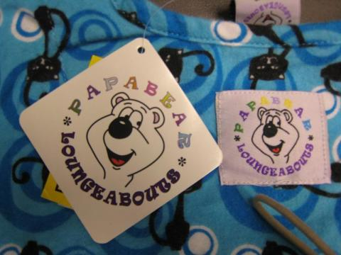 Papa Bear Loungeabouts Children's Pajamas tag and label