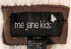 """me jane kids"" jacket label"
