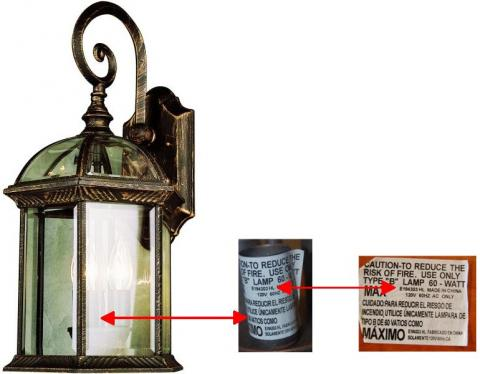 Bel Air Lighting Recalls Outdoor Wall Mount Lanterns Due To