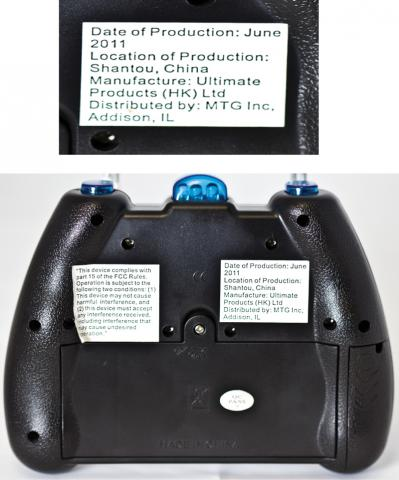 Back of remote control for Banshee Helicopter with lights