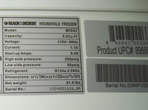 The rating and UPC labels are located at the top center of the back of the Black & Decker® freezers