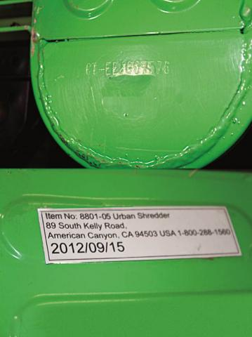 The model number and the manufacture date are printed on a label on the underside of each model of the Urban Shredder.