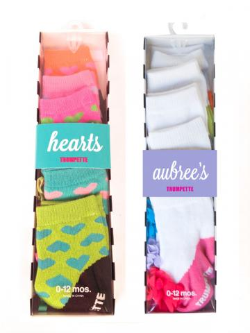 Trumpette Aubree's and Hearts socks packaging