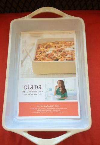 Giada De Laurentiis Ceramic 9x13 Inch Lasagna Pan top view