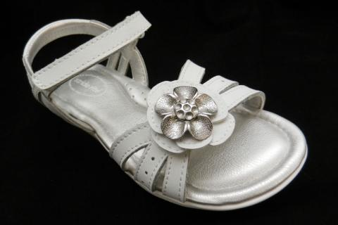 "White ""Joanna"" girl's Stride Rite sandals with flower on top"