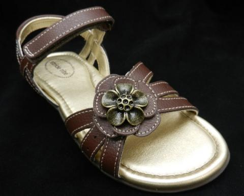 "Brown ""Joanna"" Stride Rite girl's sandal with flower on top"