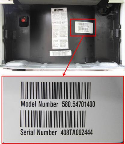 Location of model number for model numbers 580.54701400, 580.54351400 and 580.54701500