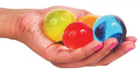 Water-absorbing polymer balls can grow to 400 times their original size.