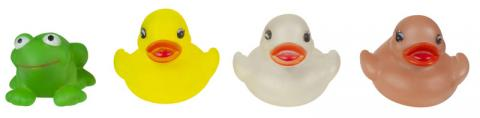 Recalled yellow, clear and pink ducks and green frog