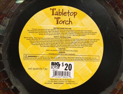 Label on bottom of Big Lots large tabletop torch