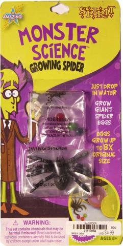 "Front side of the Monster Science Growing Spider with monster ""spider eggs"" packaging. The eggs are water-absorbing polymer balls that can grow to eight times their original size. Products sold by Target and Cracker Barrel do not have the ""Spirit"" name on"