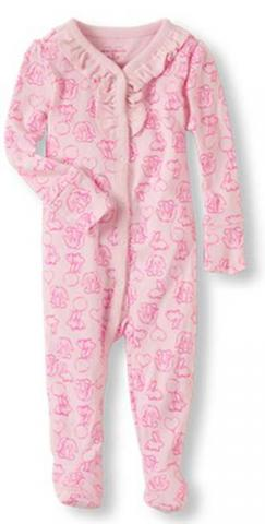 Pink bunny ruffled footies