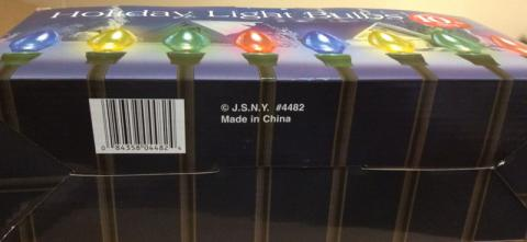 Location of model number and UPC for the Big Lots Holiday Light Bulbs 10-piece set