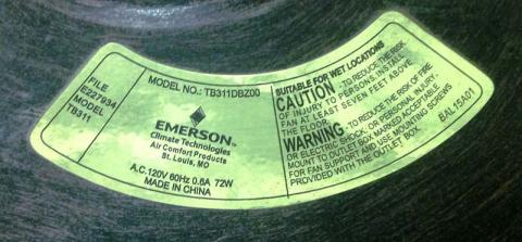 Emerson Air Comfort Tommy Bahama-brand Outdoor Ceiling Fan Identification Label