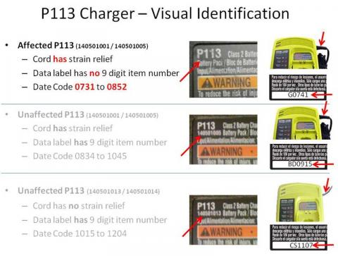 Ryobi Model P113 Dual Chemistry Charger Identification Label