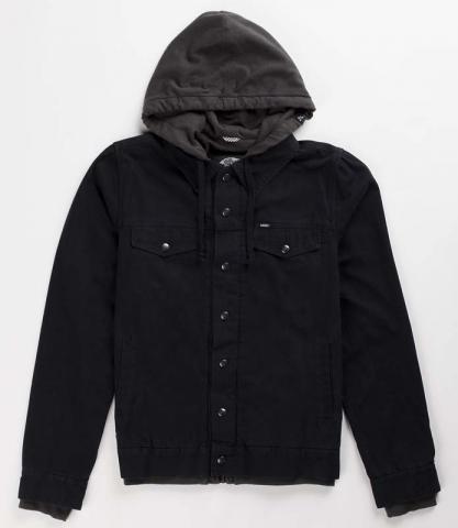 Vans Boys Hooded Jacket – black canvas