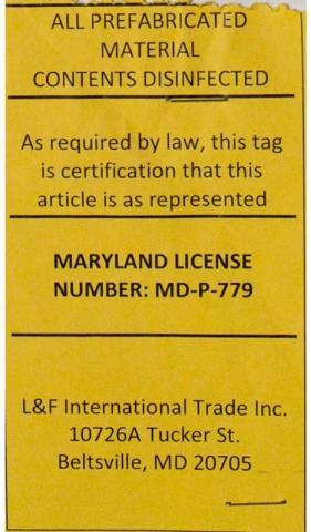Label for rebuilt mattresses