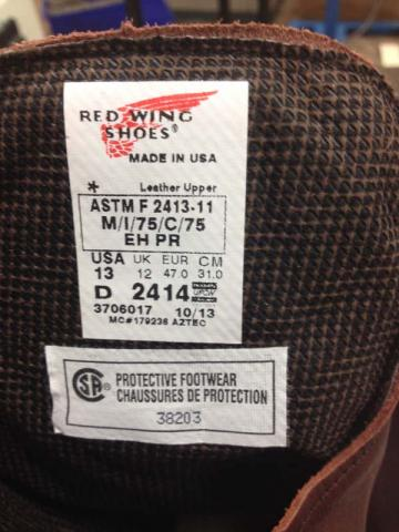 Label inside the boot's tongue style number date code