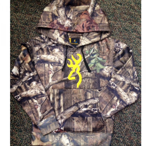 Camouflage Hooded Junior Sweatshirt with embroidered yellow Buckmark