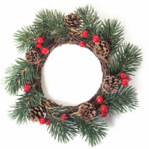 candle ring pine berry - Decorative Christmas Candle Rings