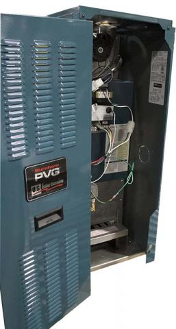 PVG/SCG boiler rating label location.