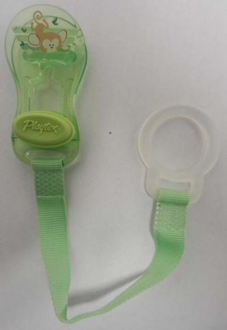 Recalled Playtex green pacifier holder clip