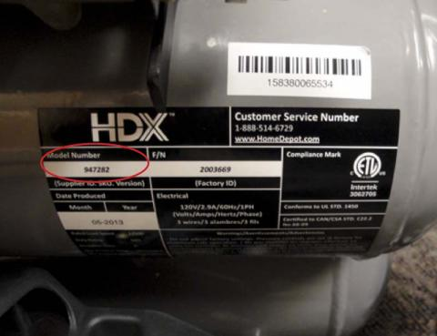 HDX air compressor label with model and serial number