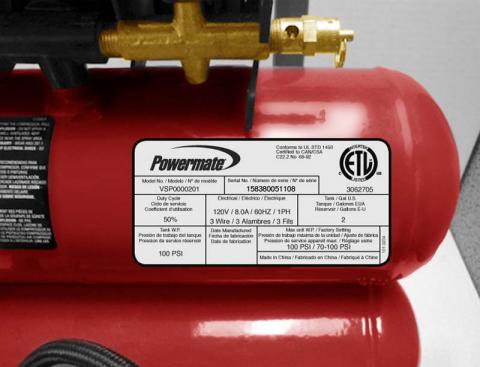 Powermate air compressor label with model and serial number numbers