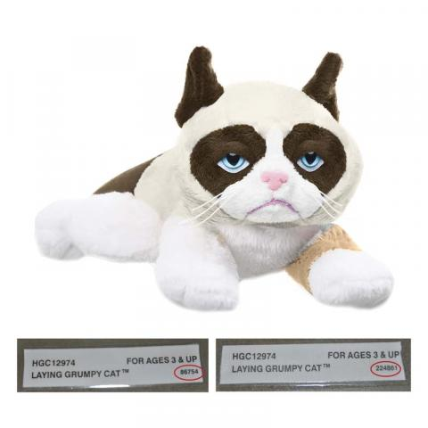 """Grumpy Cat Laying 8"""".  Red circle indicates location of batch number on the sewn-in-label."""