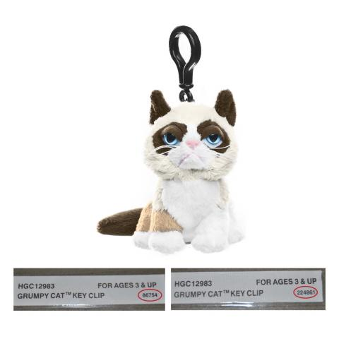 "Grumpy Cat 4"" Key Clip.  Red circle indicates location of batch number on the sewn-in-label."