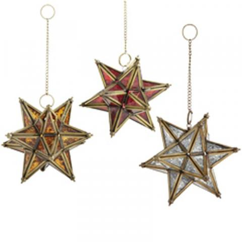 Pier 1 Hanging Glass Star Lanterns (Amber, Red and Clear)