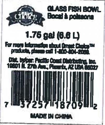 UPC code on fish bowls
