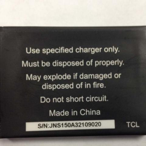 Etiqueta en la batería negra con el número de batería S/N JNS150A